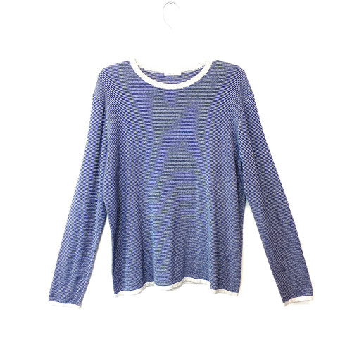 6397 Blue Checkered Waffle Sweater- Front