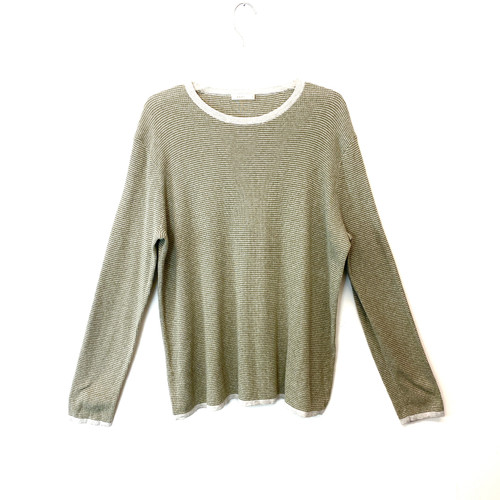 6397 Green Checkered Waffle Sweater- Front