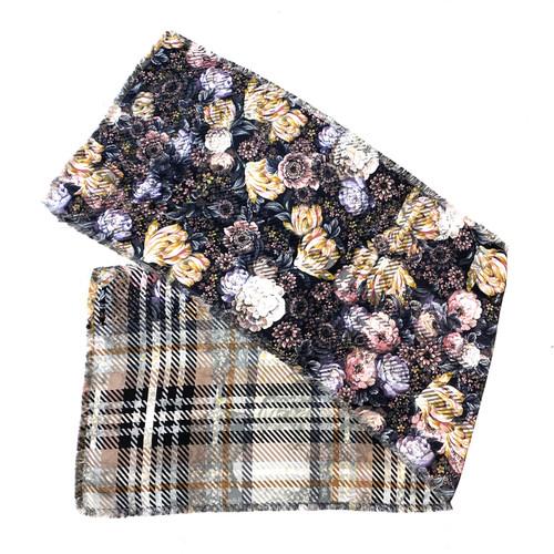 Echo Floral Plaid Silk Scarf- Thumbnail