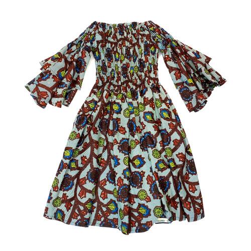 African Wax Print Flutter Sleeve Dress- Front