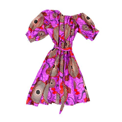 African Wax Print Puff Sleeve Dress- Front