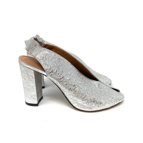 Fratelli Russo Peep Toe Foil Slingback Heels- Right