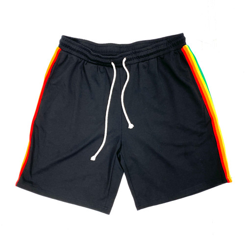 Shein Rainbow Stripe Sweat Shorts- Front