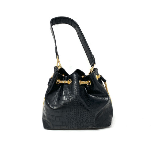 Black Croc Embossed and Chain Bucket Bag- Front