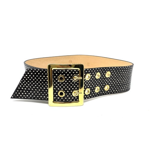 Black Brown Wide Dotted Leather Belt- Front