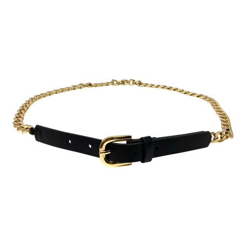 Curb Chain and Leather Skinny Belt- Front