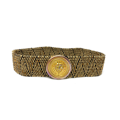 Vintage Woven Belt with Lion's Head Buckle- Thumbnail