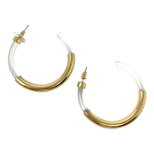 Gold and Lucite Open Hoops- Thumbnail