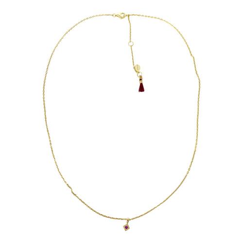 Shashi Tiny Red Stone Necklace- Thumbnail