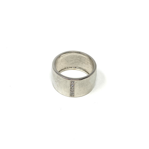 Shashi Wide Silver Band Ring- Front