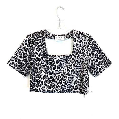 Herja Snow Leopard Square Neck Crop Top- Front