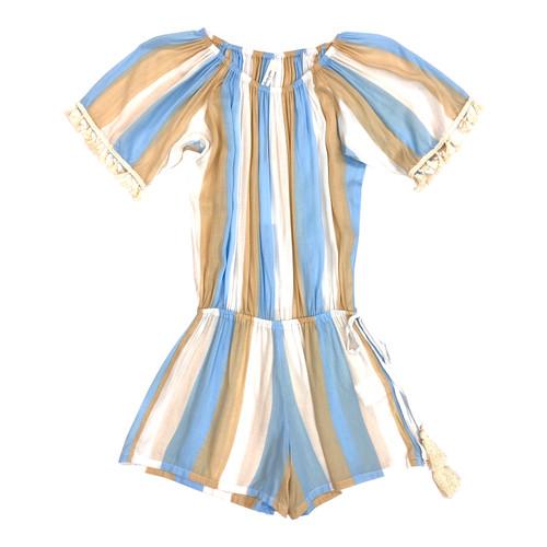 Cool Change Blue Striped Romper- Front
