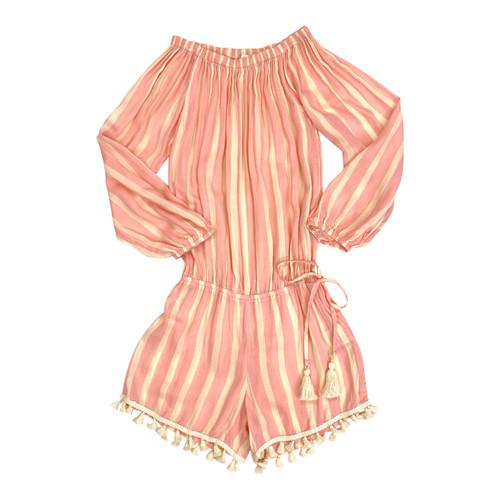 Cool Change Pink Striped Romper- Thumbnail
