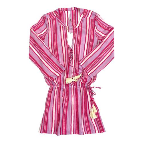 Cool Change Striped Split Neck Mini Dress- Thumbnail