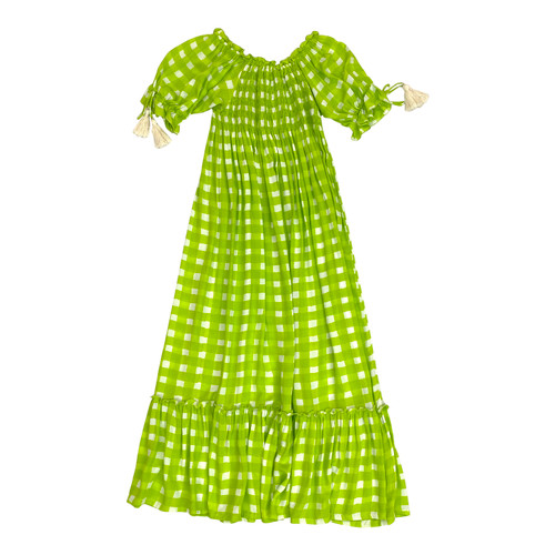 Cool Change Gingham Puff Sleeve Dress- Front