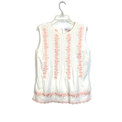Red Valentino Pintucked Embroidered Top- Front