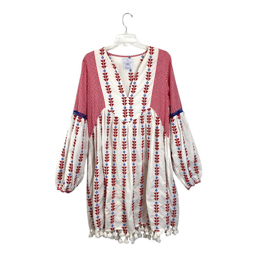 Area Stars Embroidered and Gingham Long Sleeve Dress- Front