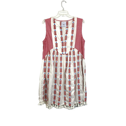 Area Stars Embroidered and Gingham Sleeveless Dress- Front