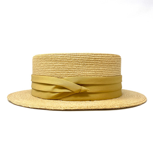 Rod Keenan Gold Band Rigid Boater Hat- Side One