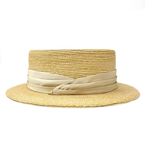 Rod Keenan Beige Band Rigid Boater Hat- Side One