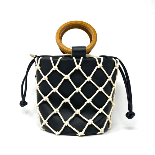 Gail Labelle Black Fishnet Bucket Bag- Thumbnail