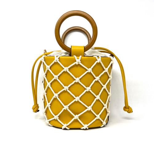Gail Labelle Yellow Fishnet Bucket Bag- Thumbnail