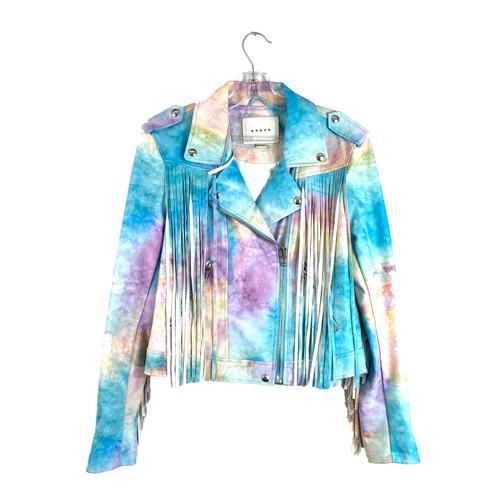 [BLANKNYC] Rainbow Tie Dye Biker Jacket- Front