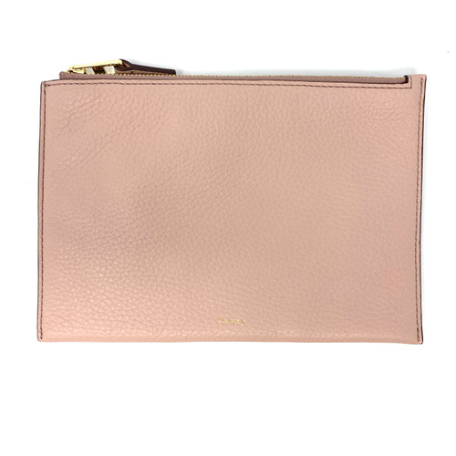 Theory Pebbled Pink Zipper Pouch- Front