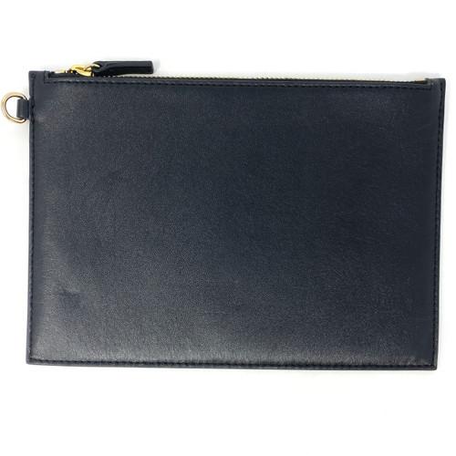 Black Leather Zipper Pouch- Front