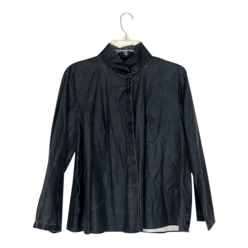 COS Denim Stand Collar Swing Blouse-Front