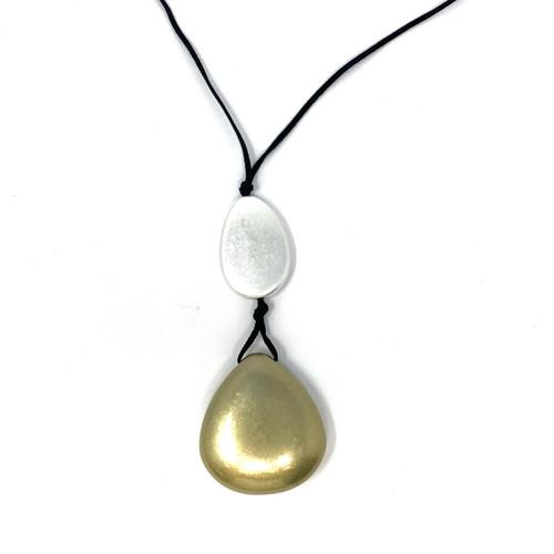 Modernist Metallic Pebbles Pendant Necklace- Thumbnail