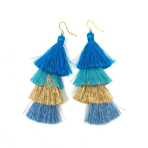 Deepa Gurnani Four Tier Tassel Earrings- Blue Straight