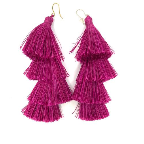 Deepa Gurnani Four Tier Monochrome Tassel Earrings- Purple Straight