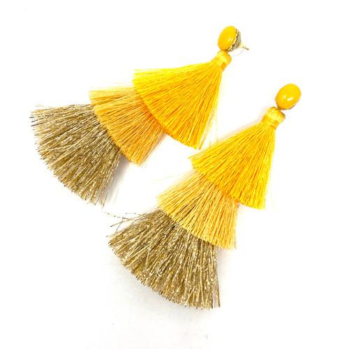 Deepa Gurnani Forest Ombre Fringe Earrings- Yellow Angle