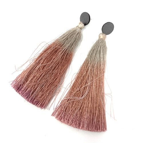 Deepa Gurnani Rose Ombre Tassel Earrings- Angle