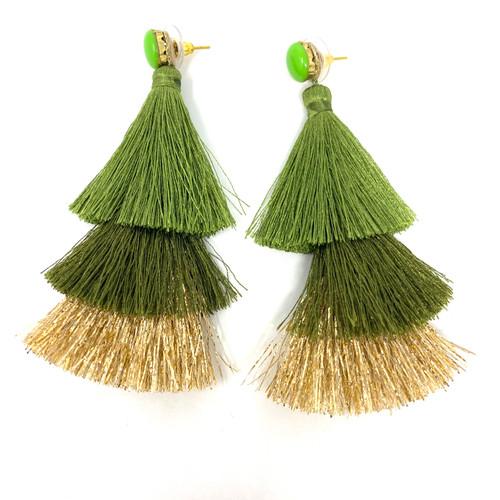 Deepa Gurnani Forest Ombre Fringe Earrings- Straight
