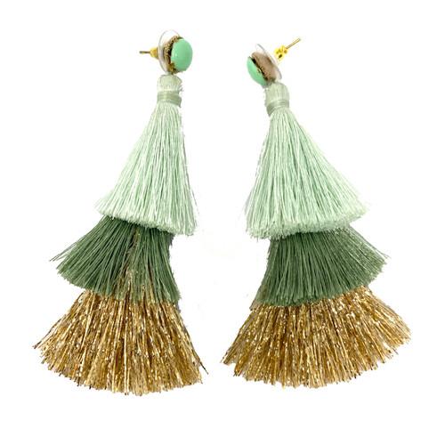 Deepa Gurnani Jade Ombre Fringe Earrings- Straight