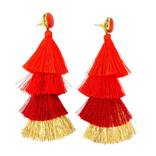Deepa Gurnani Ruby Tassel Earrings- Straight
