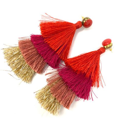 Deepa Gurnani Warm Tones Tassel Earrings- Angle