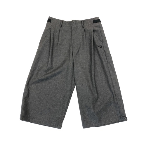 Y-3 Charcoal Classic Winter Wool Wide Cropped Pants - Thumbnail