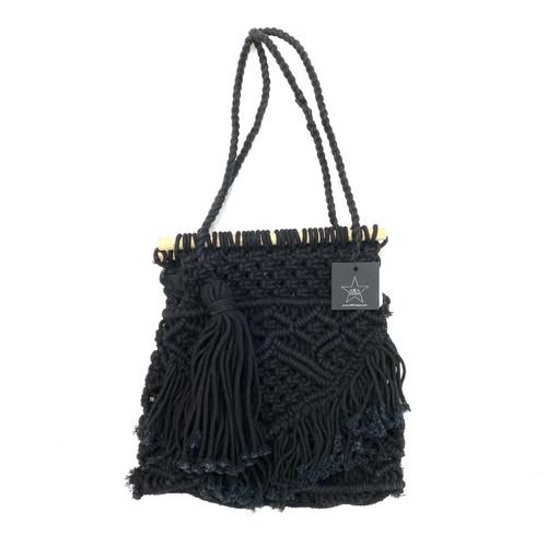 Area Stars Black Macrame Top Handle Bag- Front
