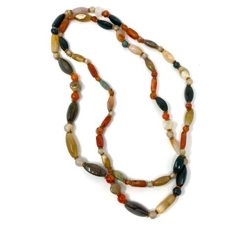 Double Wrap Beaded Gemstone Necklace- Thumbnail