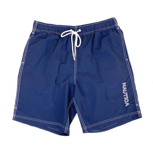 Nautica Navy Logo Quick-Dry Swim Trunks- Front