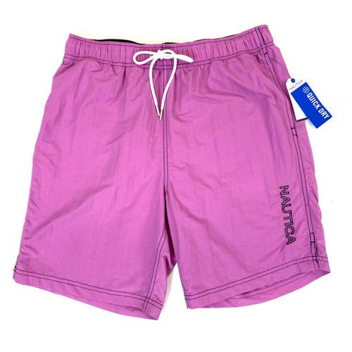Nautica Ocean Purple Logo Quick-Dry Swim Trunks- Front
