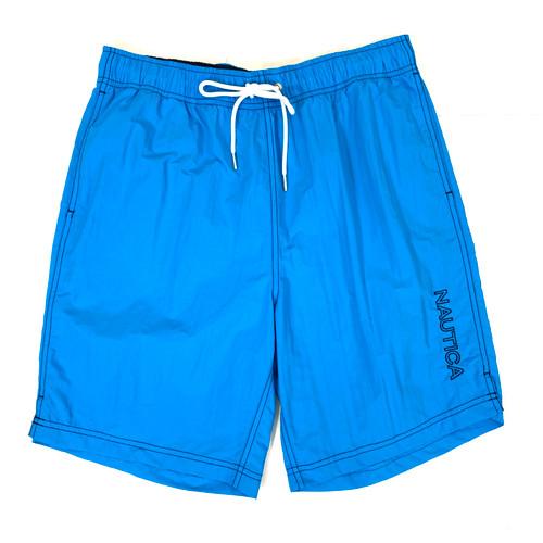 Nautica Aqua Blue Logo Quick-Dry Swim Trunks- Front