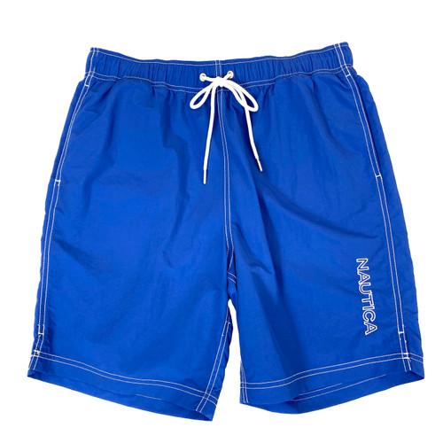 Nautica Windsurf Blue Logo Quick-Dry Swim Trunks- Front