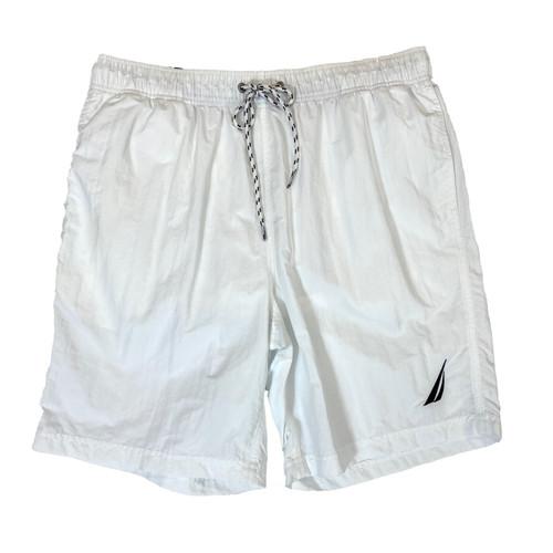 Nautica Bright White Solid Quick-Dry Swim Trunks- Front