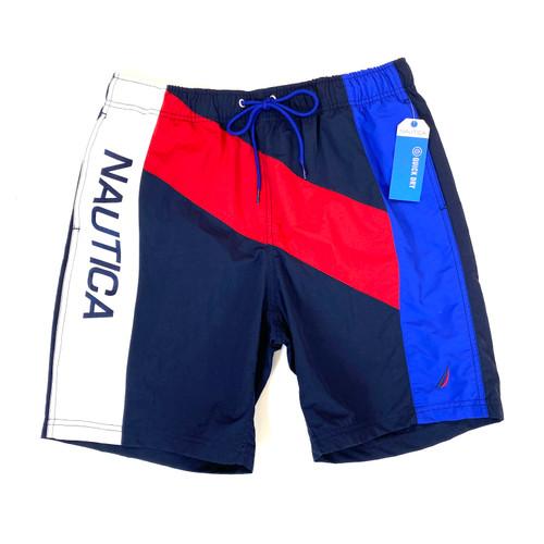 Nautica Double Stripe Quick-Dry Swim Trunks- Front