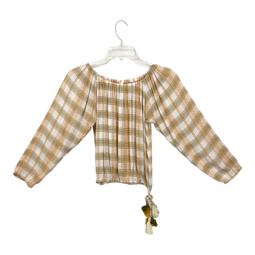Cool Change Plaid 3/4 Sleeve Top- Front