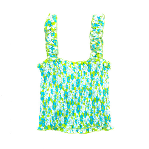 Cool Change Ruffle Strap Smocked Cami- Front